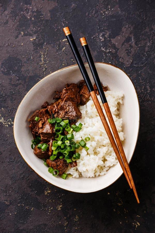 Manzo cucinato lento con riso immagini stock libere da diritti