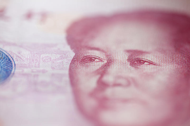 Mao fron hundred yuan banknote. Portrait of the chairman Mao fron hundred yuan banknote. Macro stock photography