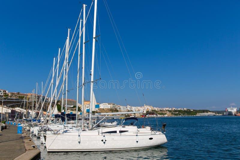 Mao Port van Mahon in Menorca in de Balearen royalty-vrije stock afbeelding
