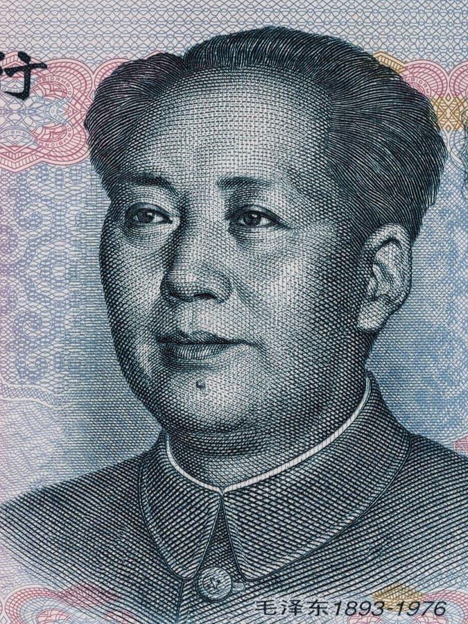 Mao Zedong en la macro del billete de banco del yuan de diez chinos, cierre del dinero de China imagen de archivo libre de regalías