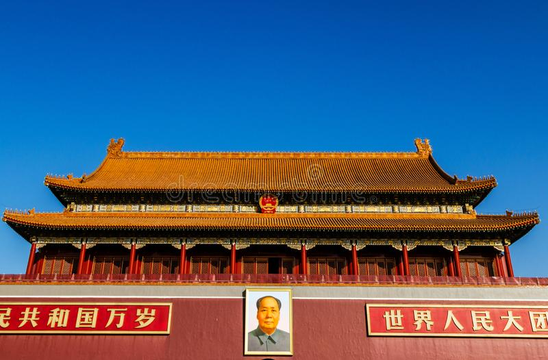 Mao Zedong is hung in the Tiananmen Gate Tower in Beijing China stock images