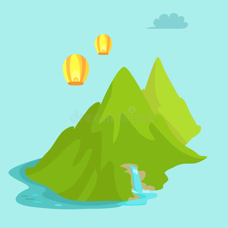 Maokong Mountain in Taiwan and Chinese Lights Fly vector illustration