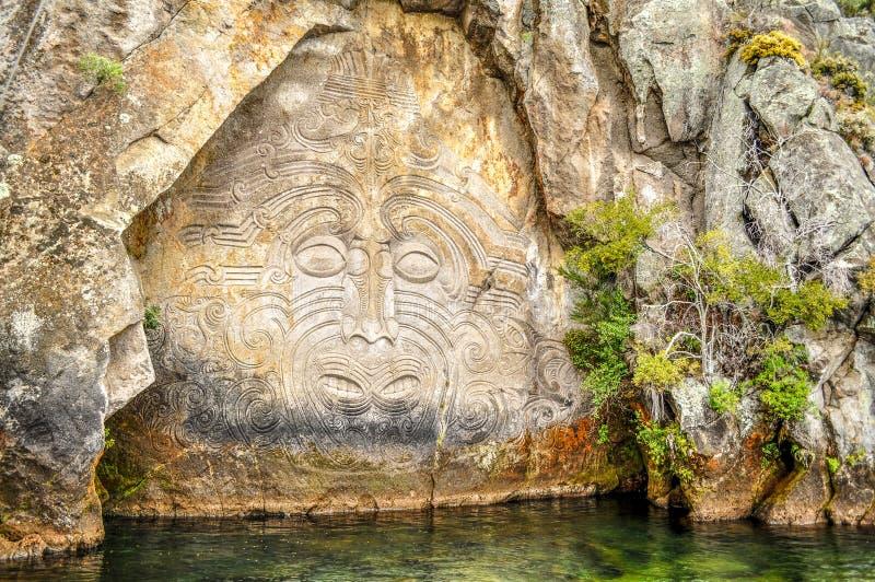 Maori γλυπτική βράχου στοκ εικόνα