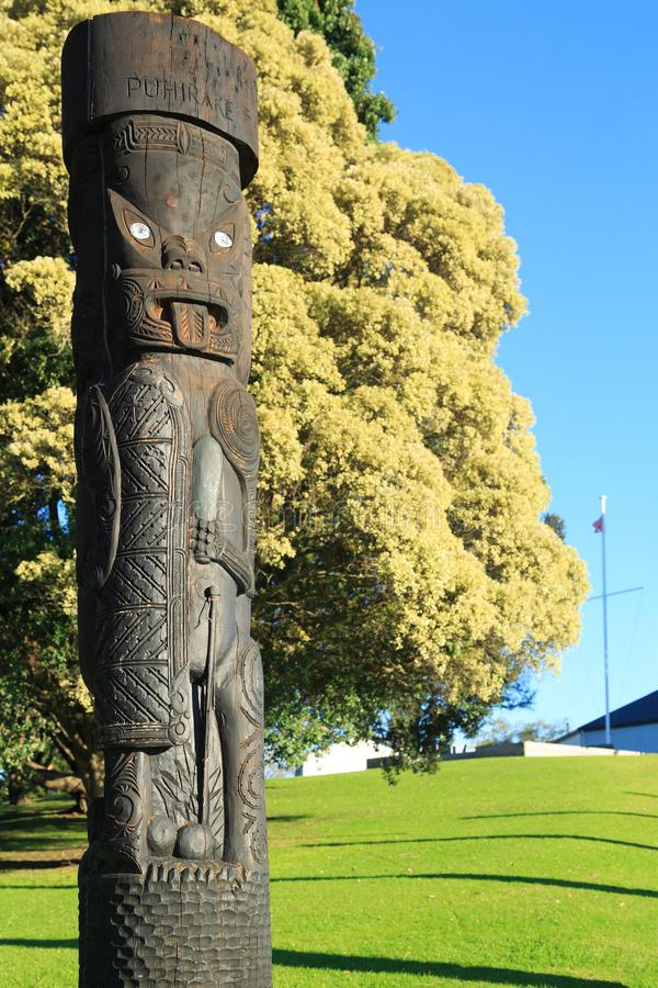 Maori γλυπτική επί του τόπου της μάχης της πύλης PA, Tauranga, Νέα Ζηλανδία στοκ εικόνες