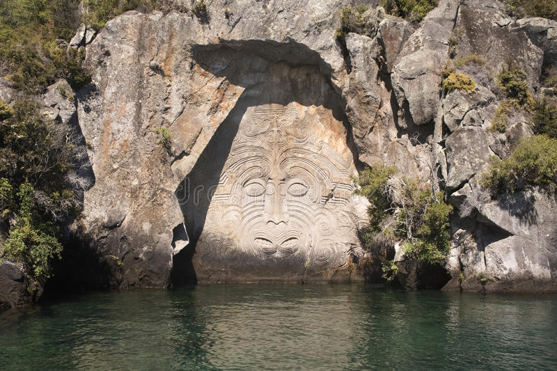 Maori γλυπτική βράχου κόλπων ορυχείου στοκ φωτογραφία