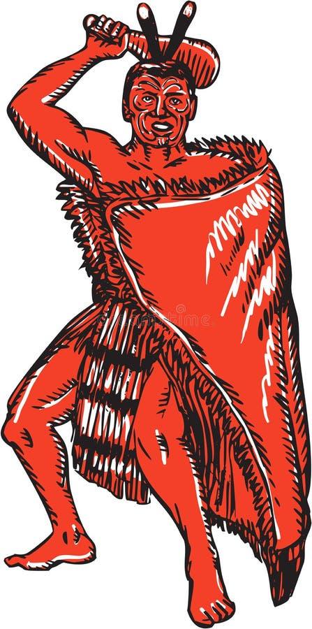 Maori κύρια εκμετάλλευση Patu χαρακτική πολεμιστών διανυσματική απεικόνιση