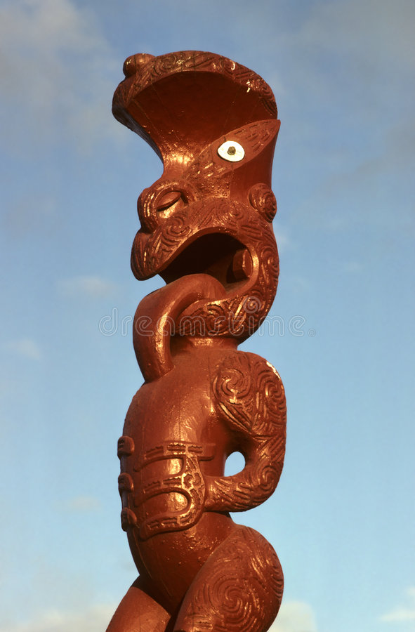 Maori Art. Maori carving, Roturua, New Zealand royalty free stock photo