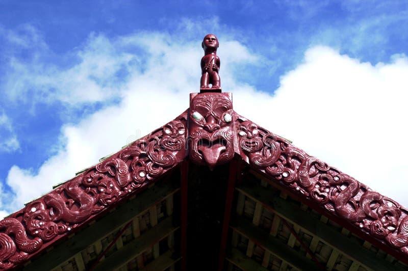 Maori Carving. Traditional Maori carvings in New Zealand stock photos