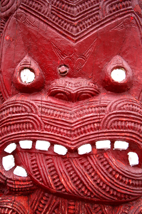 Maori Carving. Close-up of traditional Maori carving royalty free stock image