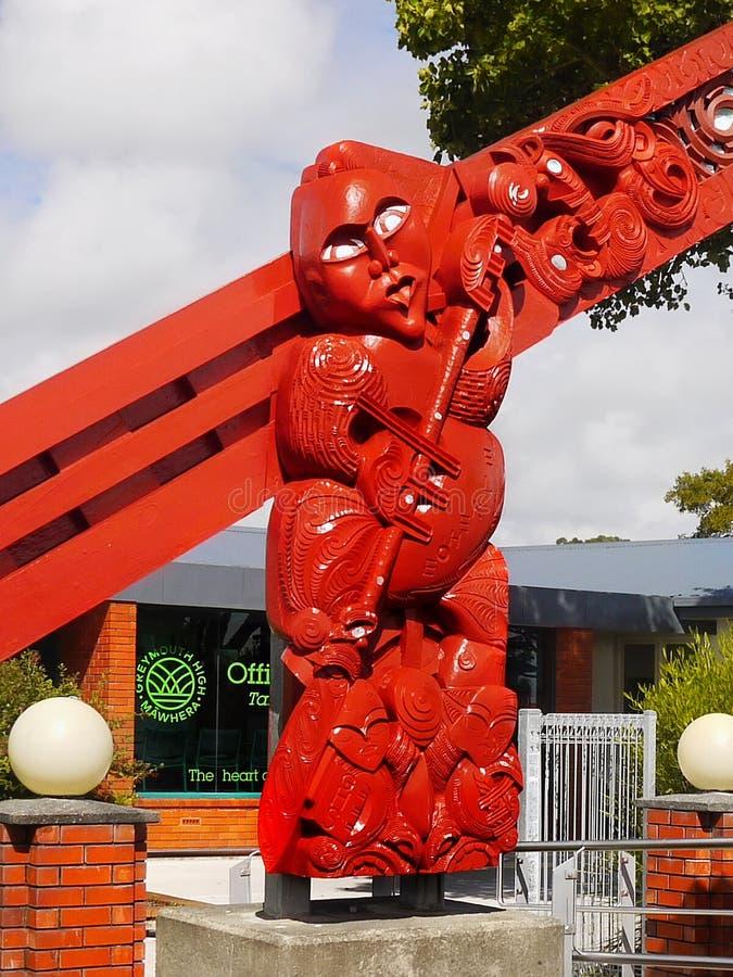 Maori Culture träskulptur, Nya Zeeland fotografering för bildbyråer
