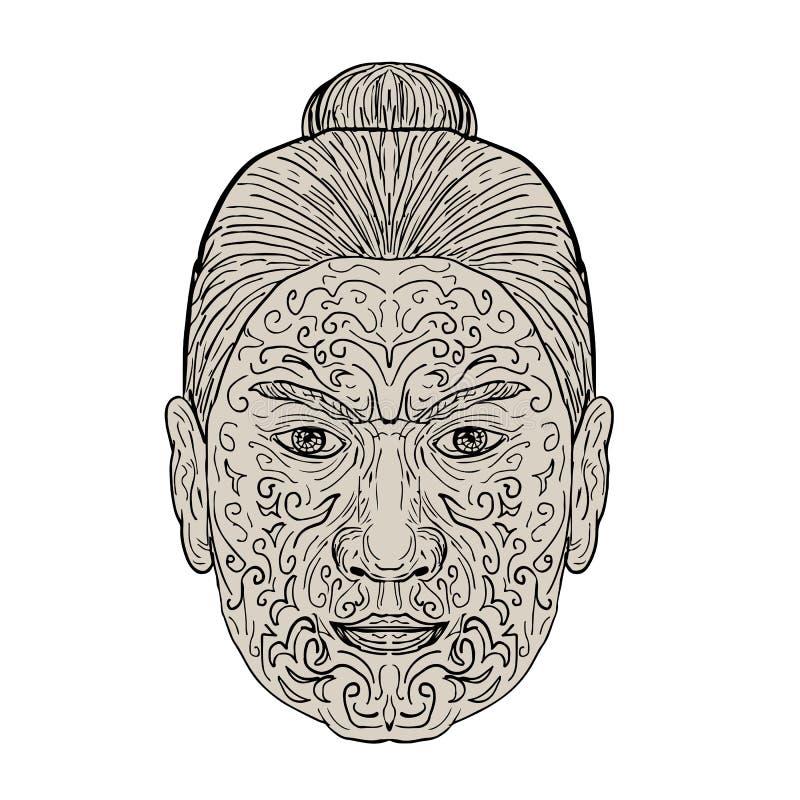 Maori Face con il tatuaggio del facial di Moko illustrazione di stock