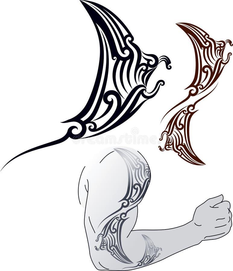 De tatoegeringsontwerp van Manta van Maori stock illustratie