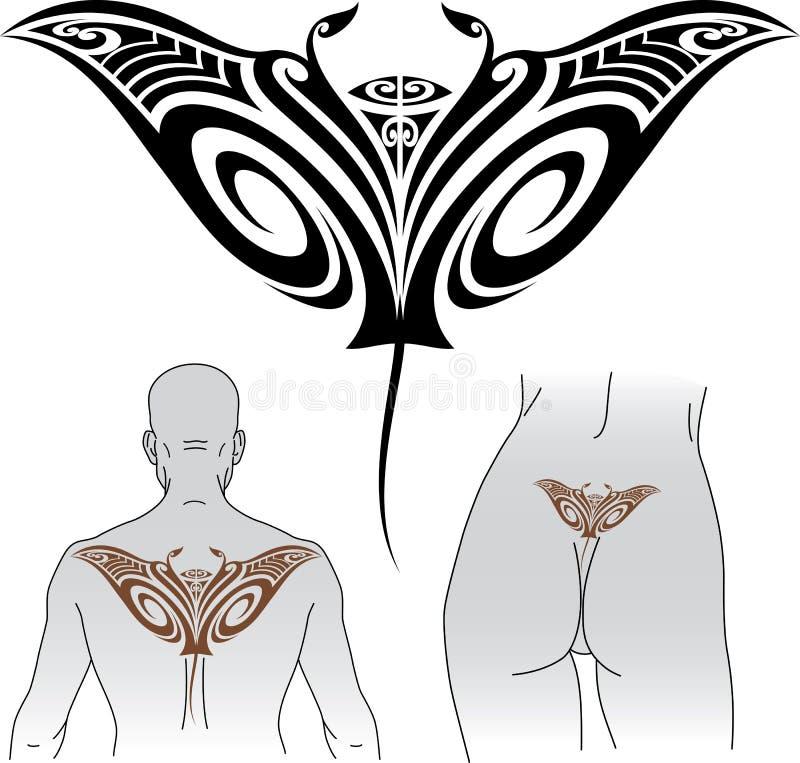 De tatoegeringsontwerp van Manta van Maori royalty-vrije illustratie