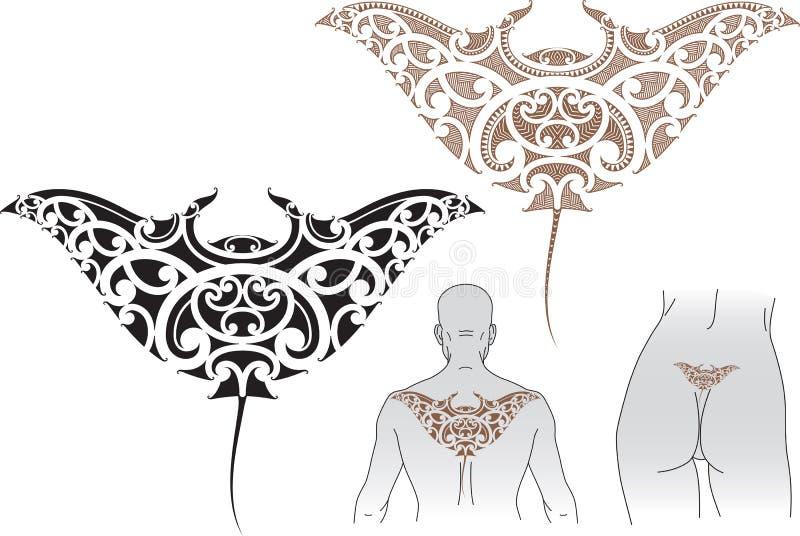 De tatoegeringsontwerp van Manta van Maori vector illustratie