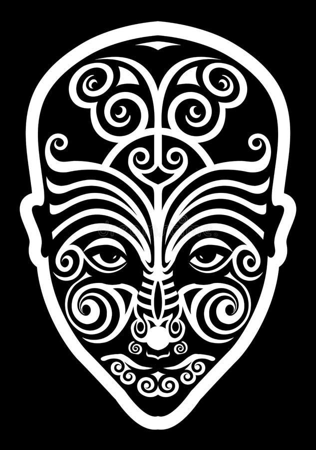 Maori gezichtstatoegering royalty-vrije illustratie