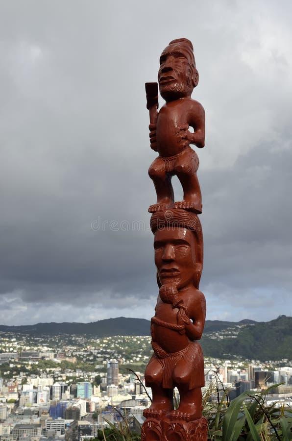 Maori idol in Wellington, NZ. Red statue of Maori idol on the top hill in Wellington, New Zealand royalty free stock photography