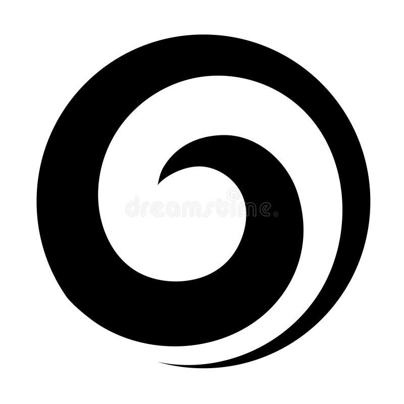 Maori koru spiral swirl för logotyp eller ikon i svart vektor illustrationer