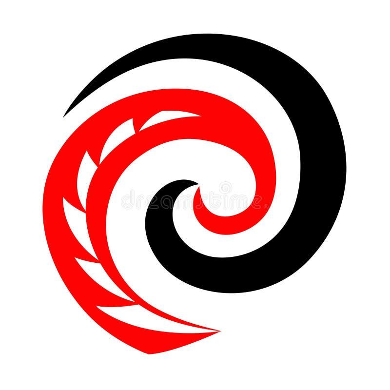 Maori koru spiral swirl-hajar med tandlogotyp eller ikon royaltyfri illustrationer