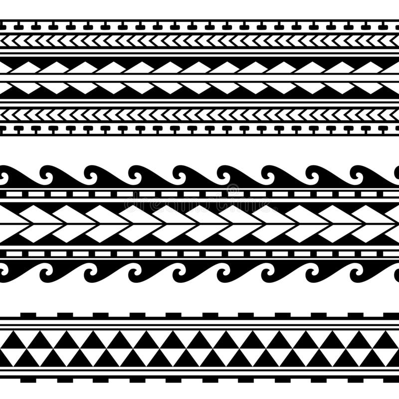 Maori polynesian tattoo border. Tribal sleeve seamless pattern vector. stock illustration