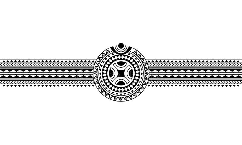 Maori- polynesische Tätowierungsgrenze mit Hakenkreuzsonnensymbol vektor abbildung