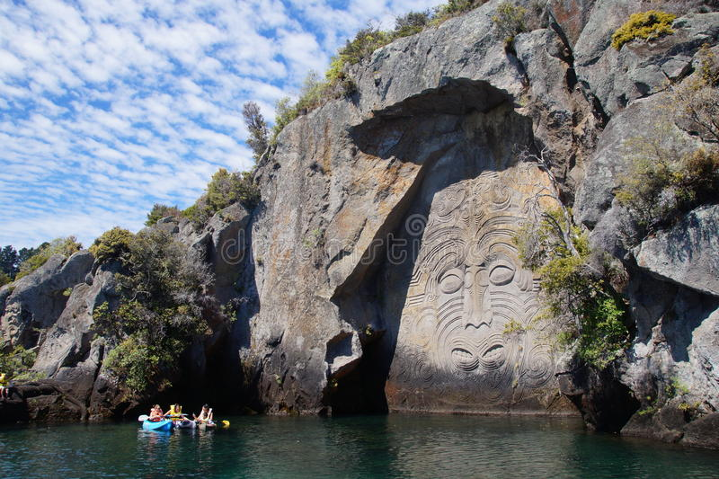 Maori Rock Carvings photographie stock