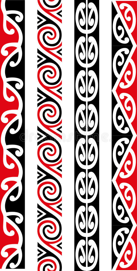 Maori Seamless Pattern Designs stock image
