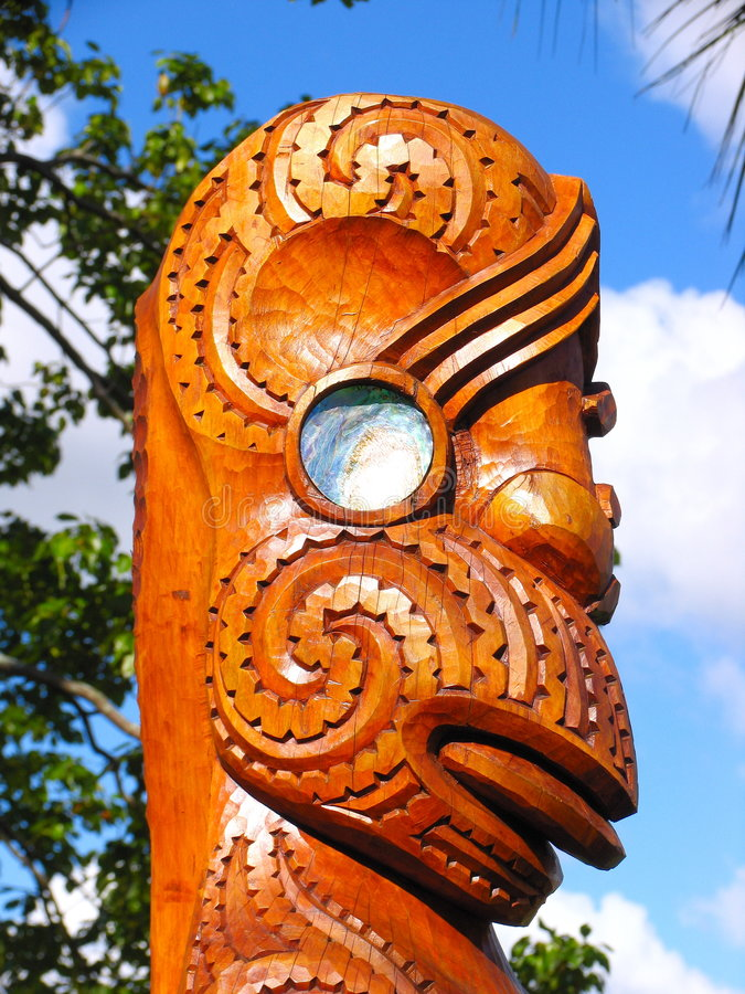 Maori- Skulptur-Kunst lizenzfreies stockfoto