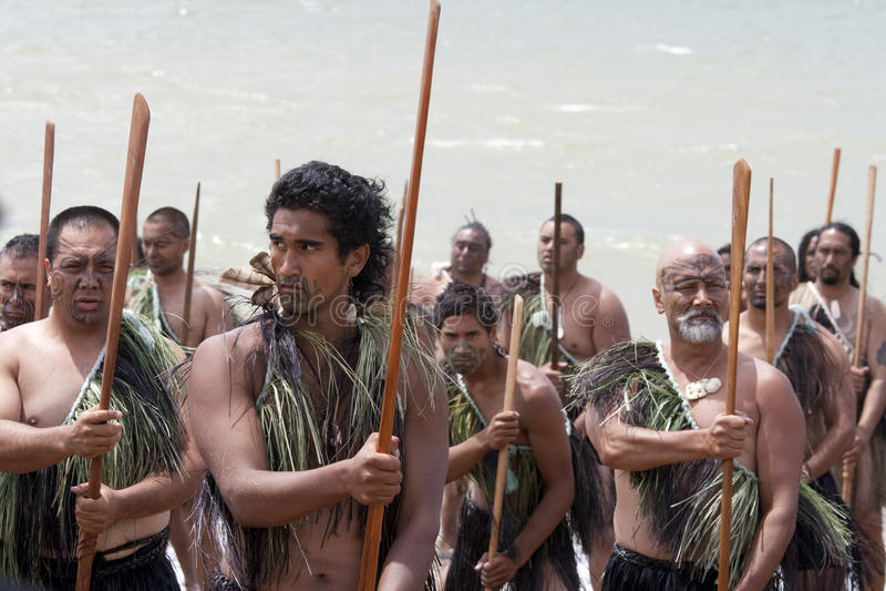 Maori strijders op dag Waitangi royalty-vrije stock foto's