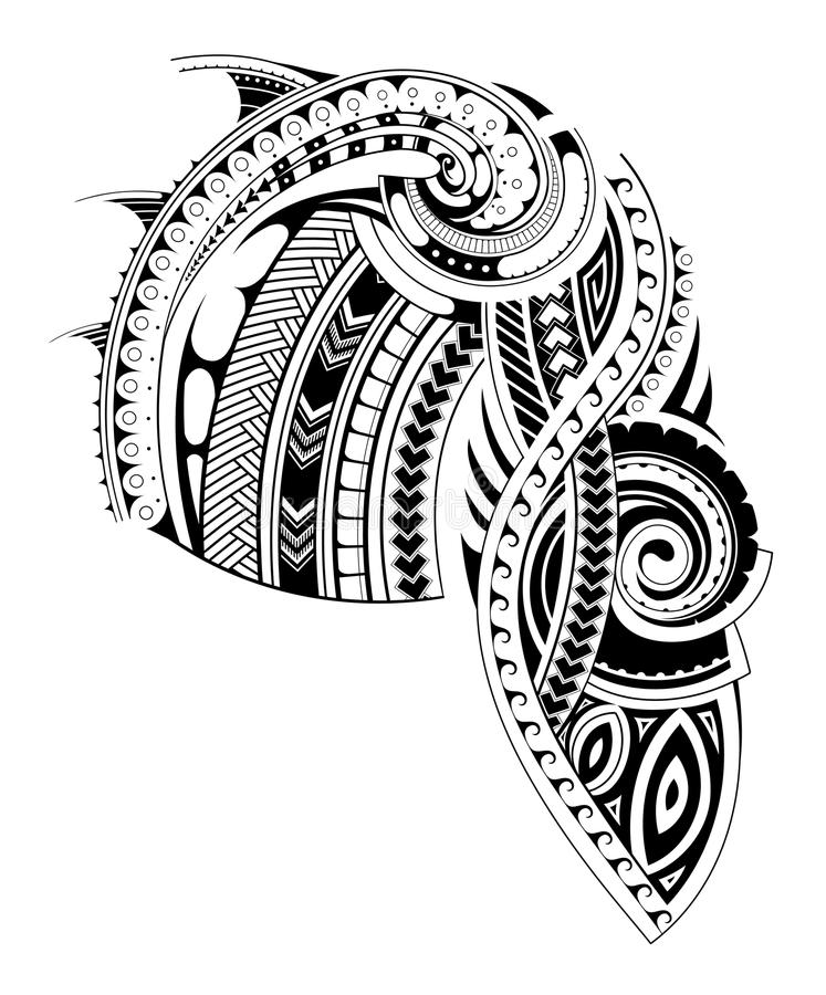 Maori Style Sleeve Tattoo Template Stock Vector - Illustration of ...