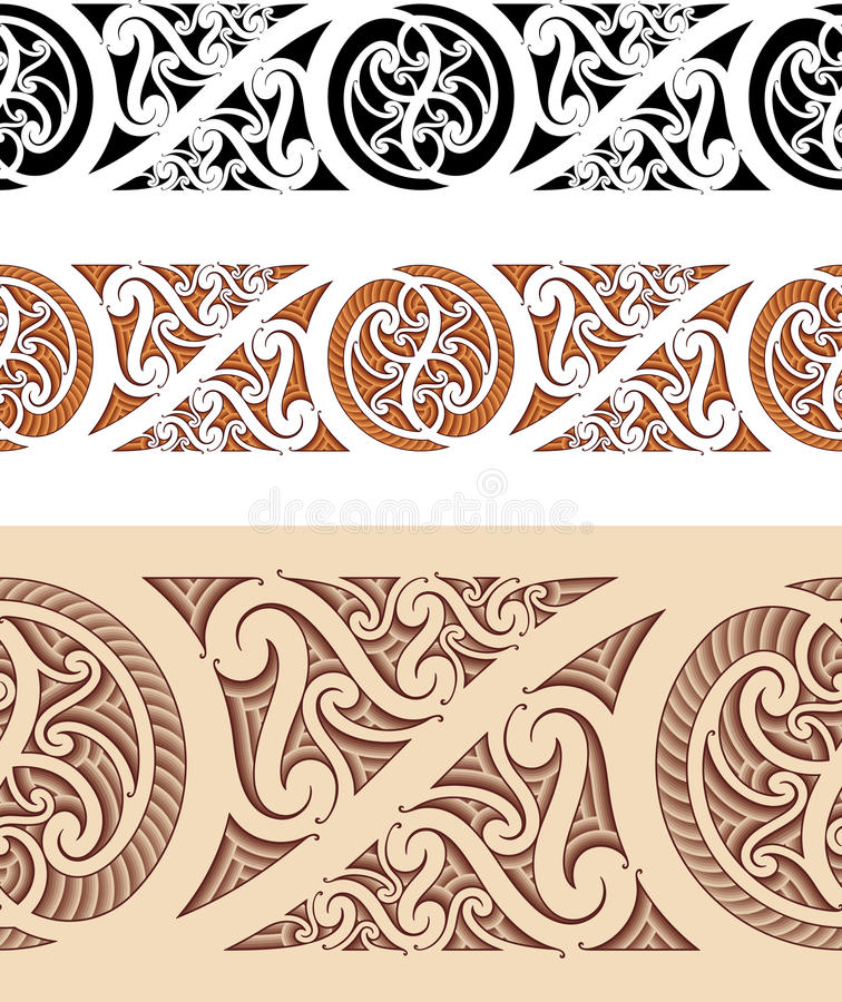 Maori styled seamless pattern royalty free illustration