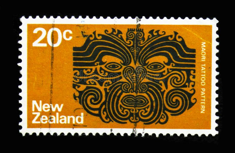 Maori Tattoo, serie de Definitives, cerca de 1974 imagem de stock