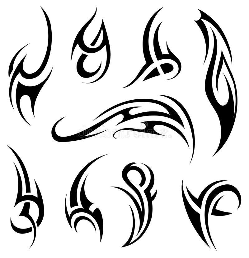 Maori tattoo set stock images