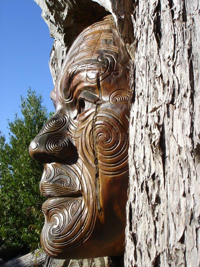 Maori Totem Carving, Marahua royalty free stock images