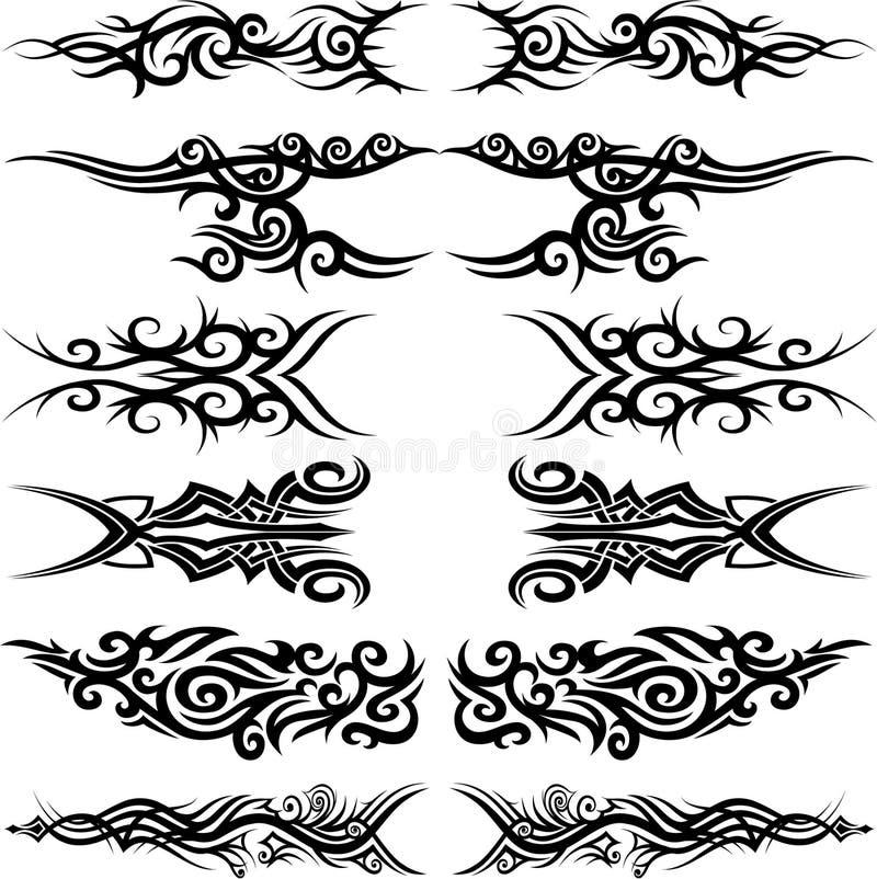Maori tribal tattoo. Set of 6 different vector tribal tattoo in polynesian style