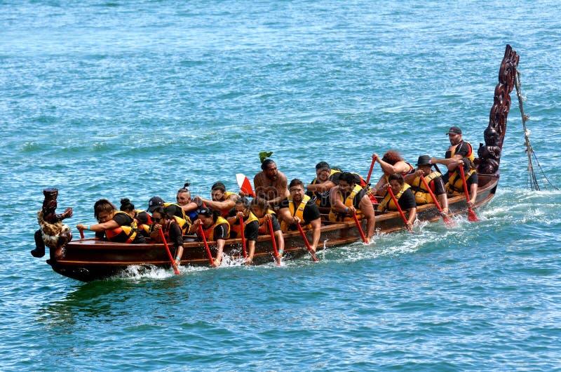 Maori- waka Erbsegeln in Auckland, Neuseeland stockfotografie