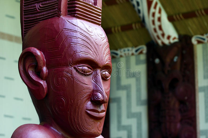 Maori wall carvings. In a Marae (meeting house royalty free stock photo