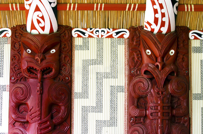 Maori wall carvings. In a Marae (meeting house royalty free stock photos