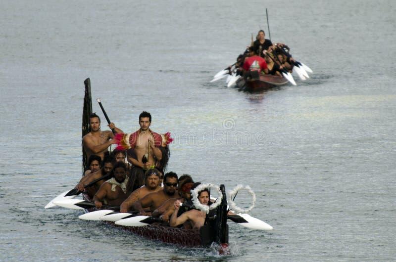 Maori War Waka Canoe royalty-vrije stock afbeeldingen