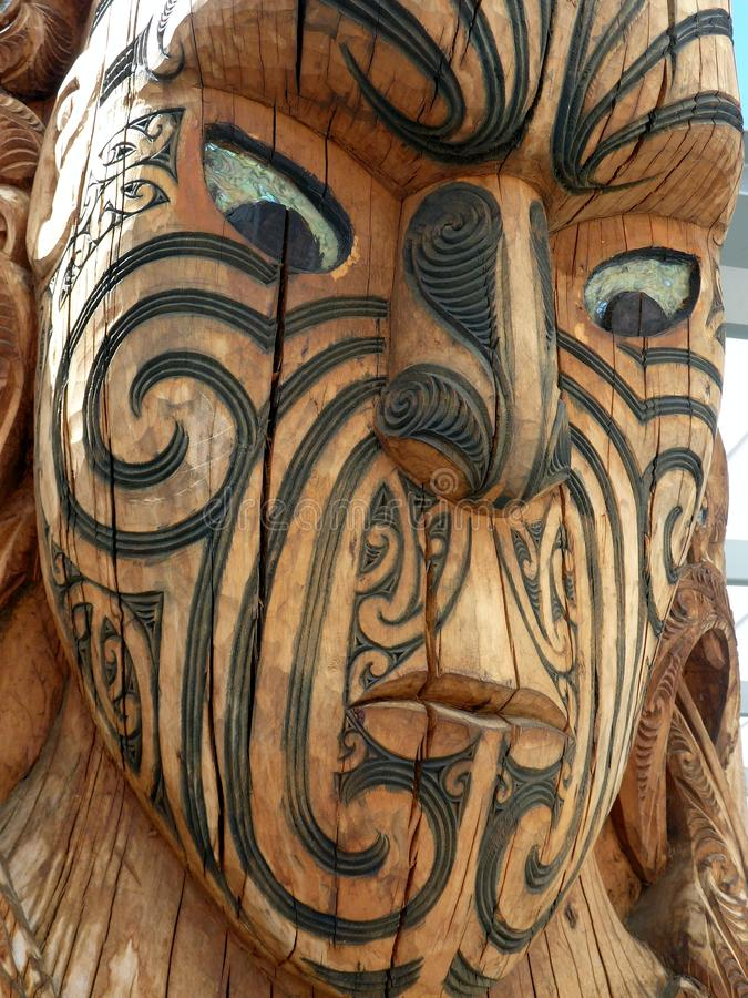 Maori wood carving new zealand stock image of