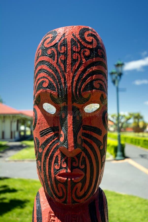 Maori wood carving, Rotorua, New Zealand - November 11 royalty free stock photo