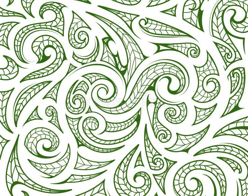 Maoristilprydnad som bakgrundslagret stock illustrationer