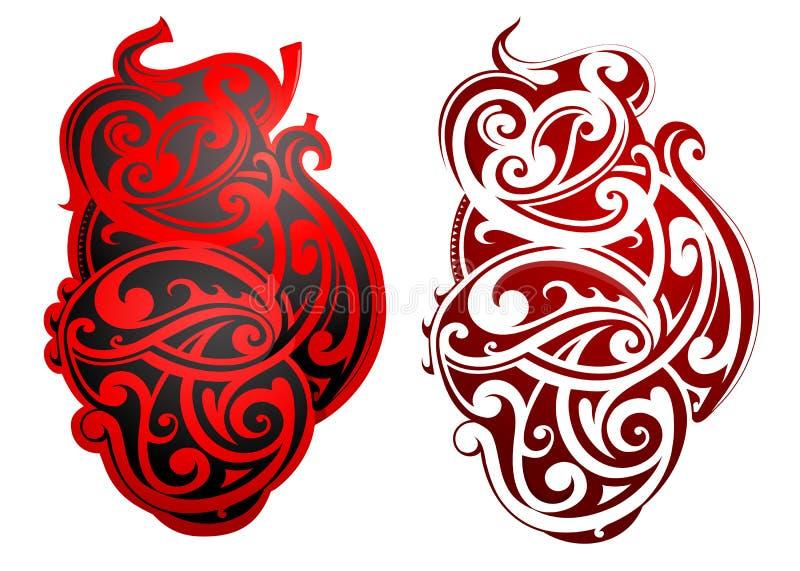 Maoristiltatuering som hjärtaform royaltyfri illustrationer