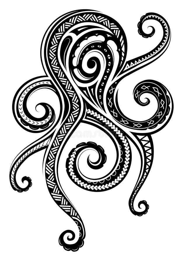 Maoryjscy etniczni ornamenty na ośmiornica tatuażu ilustracji