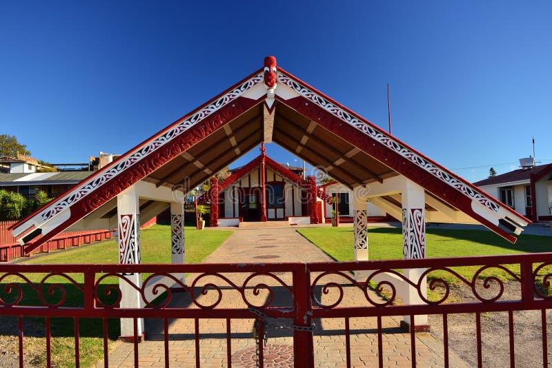 Maoryjska architektura w Rotorua, Nowa Zelandia obraz royalty free
