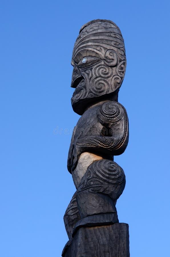 Maoryjska kultura - Drewniany cyzelowanie fotografia stock