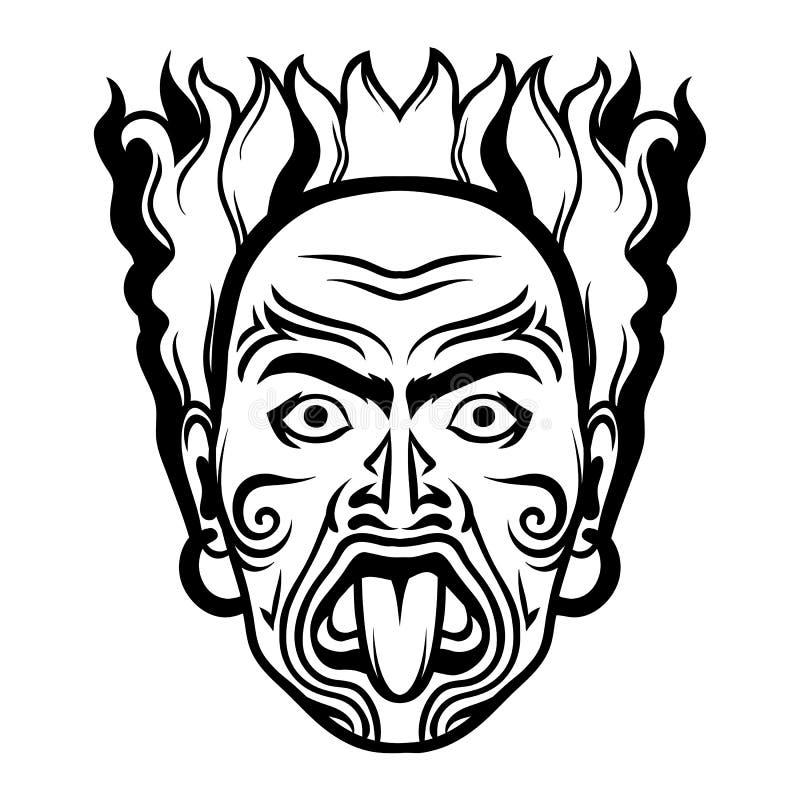Maoryjska tradycyjna maska ilustracji