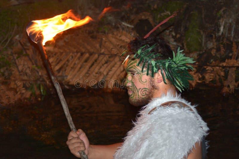 Maoryjski mężczyzna niesie pochodnia ogienia obrazy royalty free