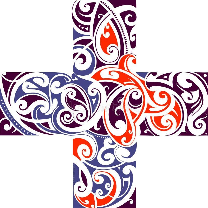 Maorysa stylu krzyża kształt ilustracja wektor