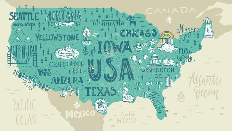 mapę usa ilustracja wektor