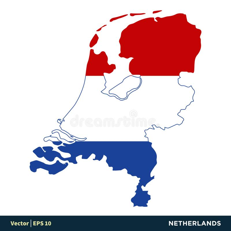 Netherlands / Holland - Europe Countries Map and Flag Vector Icon Template Illustration Design. Vector EPS 10. Netherlands / Holland - Europe Countries Map and stock illustration